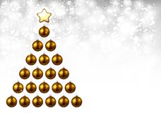 Holiday background with golden Christmas tree. Royalty Free Stock Photo