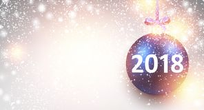Shining 2018 New Year background. 2018 New Year background with blue Christmas ball. Vector illustration Royalty Free Stock Photo
