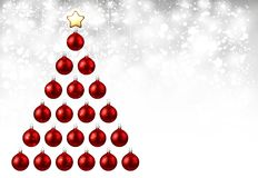 Holiday background with red Christmas tree. Shining New Year background with red Christmas balls. Vector illustration Stock Images