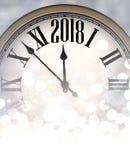 Shining 2018 New Year background. Shining 2018 New Year background with clock. Vector illustration Stock Photo