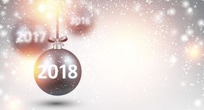 Shining 2018 New Year background. 2018 New Year background with silver Christmas balls. Vector illustration Stock Image