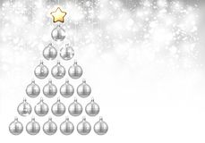 Holiday background with silver Christmas tree. Shining New Year background with silver Christmas balls. Vector illustration.r Royalty Free Stock Images