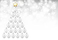 Holiday background with white Christmas tree. Shining New Year background with white Christmas balls. Vector illustration Stock Photos