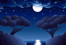 Shining Night. The lake and forest in a bright moonlit night Stock Photos
