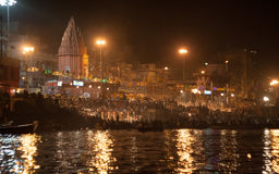 Shining Night Puja. Ghats at the holy river of Ganga in Varanasi, Uttar Pradesh, India Royalty Free Stock Photo