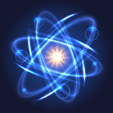 Shining nuclear atom model Stock Images
