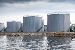 Shining oil tanks on Black sea coast in Varna port Stock Photo