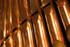 Shining organ tubes close up fragment Royalty Free Stock Images
