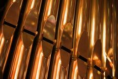 Shining organ tubes, closeup photo fragment Royalty Free Stock Photography