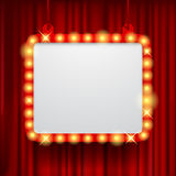 Shining party banner on red curtain background Royalty Free Stock Image
