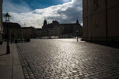 Shining pavement in Dresden Stock Images
