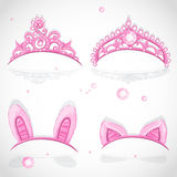 Shining pink girls tiaras with diamonds Stock Photos