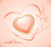 Shining pink heart. Background Stock Photo