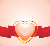 Shining pink heart on the red ribbon. Illustration Stock Images