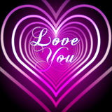 Shining pink hearts with love you Stock Photo