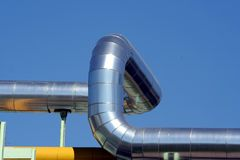 Shining pipe. Shinning pipe and blue sky Stock Photos
