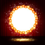 Shining polygon retro banner on stage curtain Royalty Free Stock Images