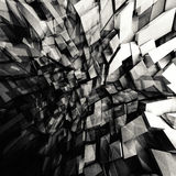 Shining polygonal fragments pattern, 3d. Abstract black and white square digital background, chaotic shining polygonal fragments pattern, 3d illustration Royalty Free Stock Photo