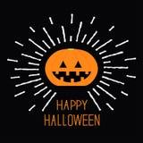 Shining pumpkin. Dash line. Halloween card for kids. Black background Flat design. Stock Image