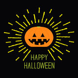 Shining pumpkin. Yellow dash line. Halloween card for kids. Black background Flat design. Royalty Free Stock Photography