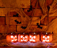 Shining Pumpkins With Bats In The Darkness Royalty Free Stock Photos