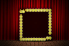 Shining quote banner on stage curtain Royalty Free Stock Photos