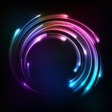 Shining rainbow neon lights circle frame Stock Photography