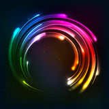 Shining rainbow neon lights circle frame Stock Images