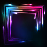Shining rainbow neon lights squared frame Royalty Free Stock Photo