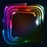 Shining rainbow neon lights squared frame Stock Photography
