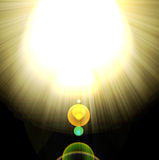 Shining rays of glare  on a dark background Royalty Free Stock Photography