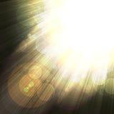 Shining Rays Of Glare On A Dark Background Stock Images