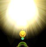 Shining Rays Of Glare On A Dark Background Royalty Free Stock Photography