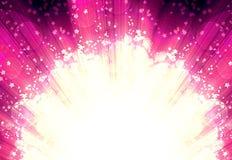 Shining rays and stars of glare  on a  horizontal Stock Photo