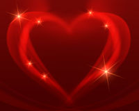 Shining red heart. Shining heart drawing by red lines, stars with rays of light Stock Photography