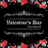 Shining red heart Valentine`s day card in black background. Valentine`s day card vector illustation on black background vector illustration
