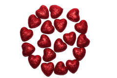 Shining red hearts Stock Image