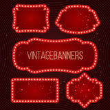 Shining retro banner with lights. Stock Photography