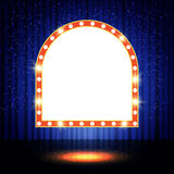Shining retro banner on stage curtain Royalty Free Stock Photo