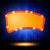 Shining retro casino banner on stage curtain Stock Photos