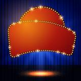 Shining retro casino banner on stage curtain Stock Photo