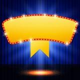 Shining retro casino banner on stage curtain Stock Image