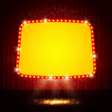 Shining retro casino banner on stage curtain Royalty Free Stock Photo