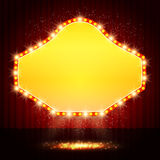 Shining retro casino banner on stage curtain Royalty Free Stock Image