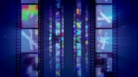 Shining Retro Film Blue Backdrop. A stunning 3d illustration of vertical film tapes shining like mirrors with multicolored reflections changing each other in the vector illustration