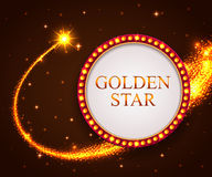 Shining retro frame with falling star. Night sky Stock Images