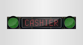 Shining retro light banner Cashier sign on a black background Royalty Free Stock Image