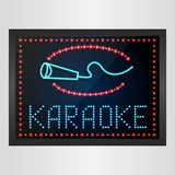 Shining retro light banner karaoke on glowing background Royalty Free Stock Photos