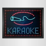Shining retro light banner karaoke on glowing background. Illustration of Shining retro light banner karaoke on glowing background vector illustration