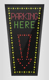 Shining retro light banner parking here on a black background Royalty Free Stock Images